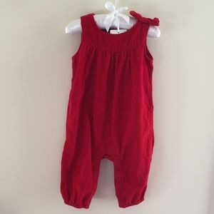 Baby Gap Red Bow Corduroy Overall Romper 6-12